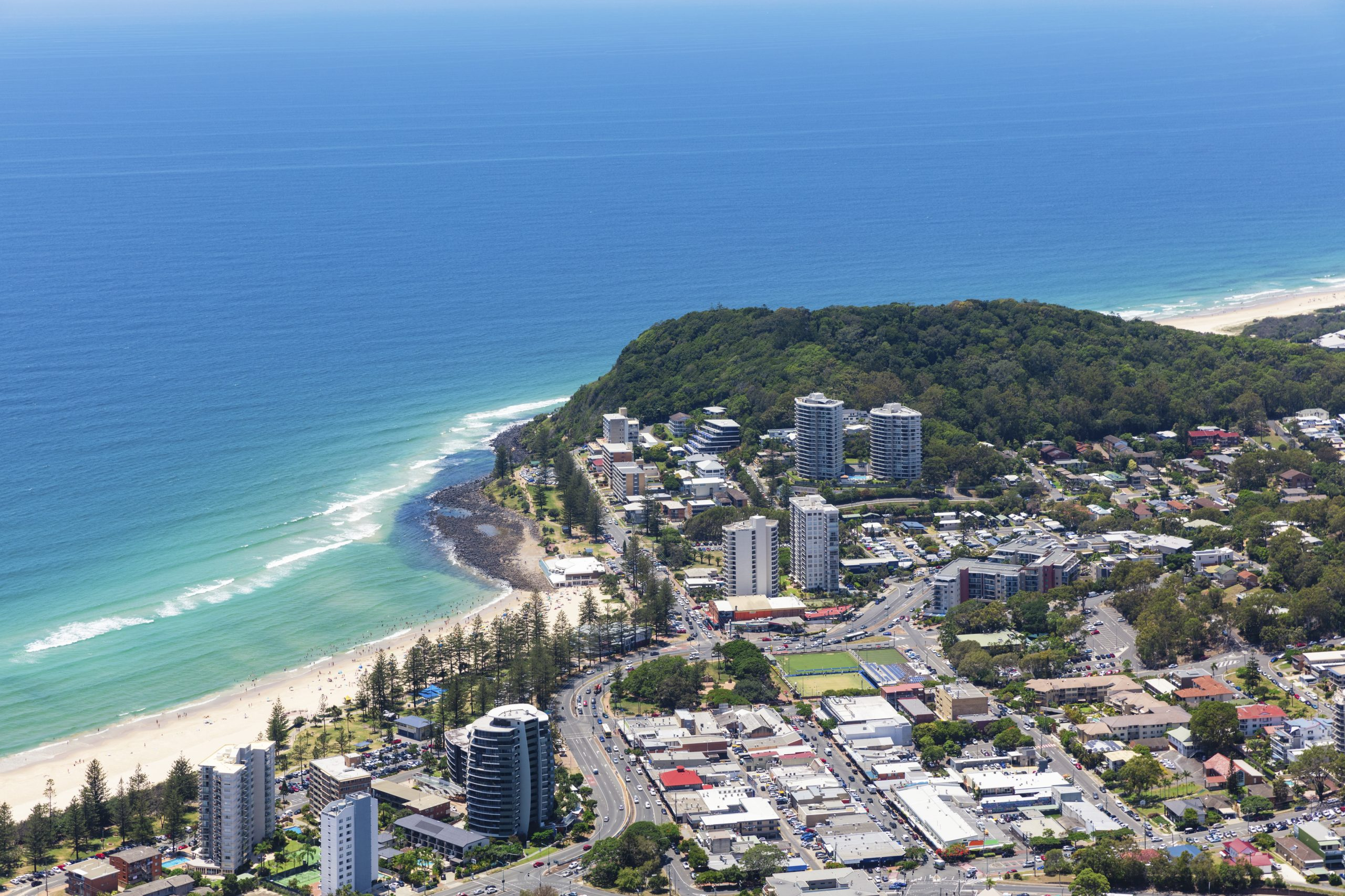 Sunny view of Burleigh Heads on the Gold Coast